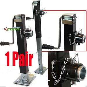 Two 8000lbs Hitch Mount Trailer Jack Sidewind Adjustable Tube Towing Hauling Rv