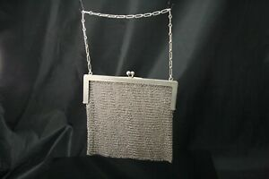 Vintage Sterling Silver Kissing Clasp Mesh Purse 12 1 2 Handle Ant1569