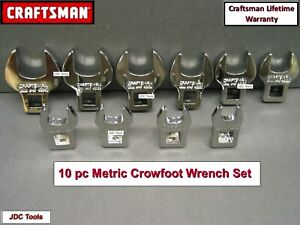 Craftsman 10 Pc 3 8 Drive Metric Mm Crowfoot Wrench Set 10mm 19mm