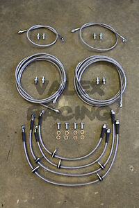 Front Rear Brake Line Replacement Kit For 92 95 Honda Civic W Rear Disc