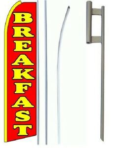 Breakfast King Size Swooper Flag Sign W complete Set