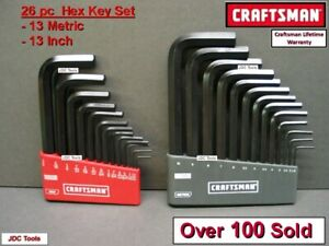 Craftsman Hand Tools 26 Pc Sae Metric Mm Allen Hex Key Wrench Set 20 40