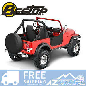 Bestop Soft Half Doors Black Denim Fits 80 95 Jeep Cj7 Wrangler Yj 53038 15