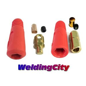 Weldingcity Dinse type Twist lock Cable Connector Pair red 2 1 0 35 50mm Usa