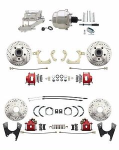 1959 1964 Impala Front Rear Chrome Power Disc Brake Conversion Kit Red Calipers