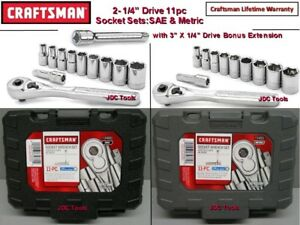 Craftsman 22 Pc 6 Pt 1 4 Drive Inch Metric Socket Wrench Set 34860 34861 11