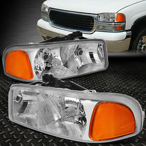 For 99 07 Gmc Sierra Yukon Xl Chrome Housing Amber Corner Headlight Head Lamps