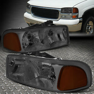 For 99 07 Gmc Sierra Yukon Xl Smoked Housing Amber Corner Headlight Head Lamps
