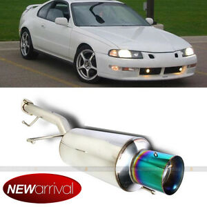 Fit 92 96 Prelude Stainless Steel Bolt On Axle Back Exhaust Muffler Green Tip