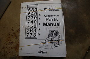 Bobcat 630 640 730 740 Skid Steer Loader Attachement Parts Manual Book Catalog
