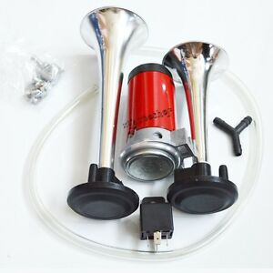 New Super Loud Dual Trumpet Air Horn Compressor Kit Train Car Truck Boat 118db