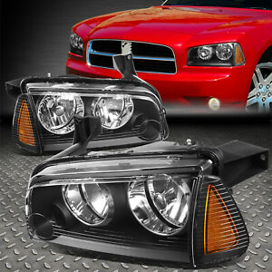 For 06 10 Dodge Charger Black Housing Amber Corner Headlight Replacement Lamps