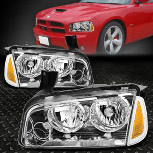 For 06 10 Dodge Charger Chrome Housing Amber Corner Headlight Replacement Lamps
