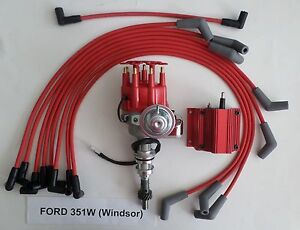 Ford 351w windsor Red Small Cap Hei Distributor Red Coil Spark Plug Wires