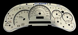 White Instrument Cluster Gauge Face Overlay With Blue Scales And Display Screen