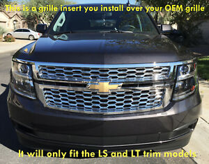 2015 2019 Chevy Tahoe Suburban Chrome Mesh Grille Insert Grill Overlay Ls Lt