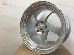 19x8 5 19x10 Silver Tmb Style Machined 2 Step Wide Lip Aggressive Jdm Staggered