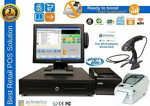 Complete Pos System pc America Cre Wifi 64g Ssd 2g Ram pole Display card Reader