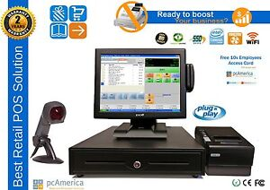 Retail All in one Touch Screen Pos System Pc America Cash Register Express