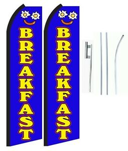 Breakfast King Size Swooper Flag With Complete 2 Full Set