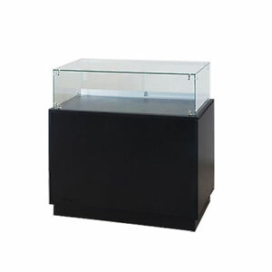 Frameless Glass Knockdown Jewelry Pedestal Showcase Cabinet Lock Solid Base New