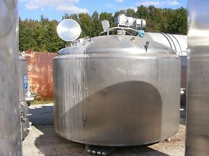 Nice 1 500 Gallon Apv Crepaco Stainless Steel Sanitary Jacketed Sweep Mix Tank