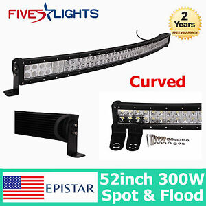 52inch 300w Epistar Led Light Bar Curved Driving Combo Offroad 4wd Jeep Truck 53