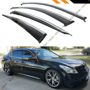 Clip on Type Smoke Window Visor W Chrome Trim For 07 15 Infiniti G35 G37 Sedan