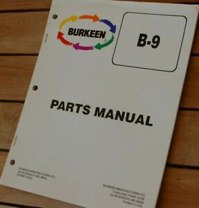 Burkeen B9 Walk Behind Tractor Trencher Parts Manual Book Catalog List Spare