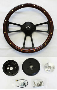 60 69 Chevy Truck Steering Wheel Mahogany Wood With Black Spokes 14 Bowtie Cap