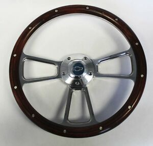 Blazer C K Series S10 Chevy Truck Steering Wheel Real Wood Billet 14 Bowtie Cap