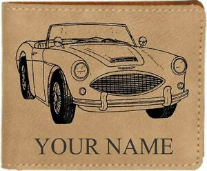 Austin Healey3000 Leather Billfold With Drawing And Your Name On It Nice Quality
