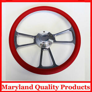 1957 1968 Chevy Impala Biscayne Bel Air Red And Billet Steering Wheel 14