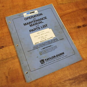 Taylor dunn Mr 374 00 Operation Maintenance Manual With Parts List Used