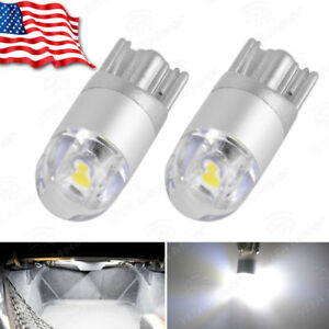 2x Super White T10 3030 2 Smd Led Dome Map License Plate Light Bulb W5w 194 2825