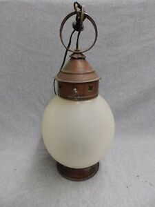 Early Vintage Copper Porch Sconce Light Large Onion Glass Globe Antique 5093 15
