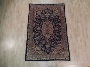 Handmade Rug 4x6 Antique Persian Worn Kashan Rug Attractive Vintage Carpet