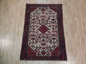 Ivory Old Fashioned Hamadan Fantastic Hand Woven 4x5 Persian Traditional Rug
