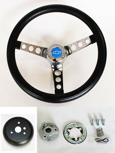 Chevy Pick Up Blazer Grant Black Steering Wheel 13 1 2 Blue Bowtie Cap