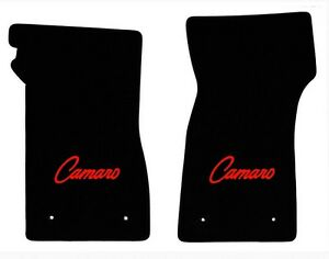 New 1967 69 Camaro Floor Mats Black Set Of 2 Carpet Embroidered Script Logo Red