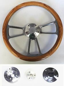 14 Oak Wood Grip Billet Steering Wheel Polished Adapter Shallow Dish Gm Kit
