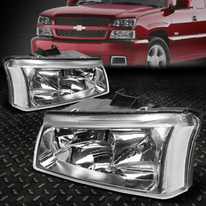 For 03 06 Chevy Silverado Avalanche Chrome Housing Clear Corner Headlight Lamps
