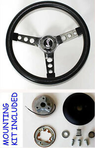 1970 1978 Mustang Ii Torino Grant Black Steering Wheel 13 1 2 Cobra Snake Center