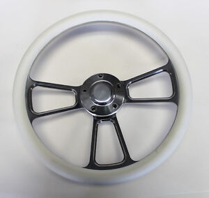 14 White Grip Billet Steering Wheel Polished Adapter Fits Most Gm Columns