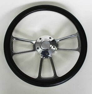 Black Billet Steering Wheel 14 Chevy Bowtie Cap For Flaming River Ididit Column