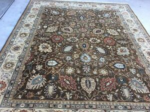 Authentic Chobi Peshawar Pakistan Oriental Rug Hand Knotted Oushak Design
