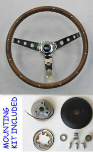 15 Steering Wheel Wood Chrome With Ford Cap Fits Ididit Flaming River Column