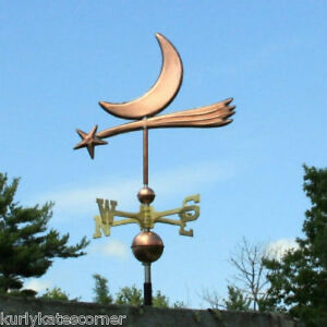 Fancy Copper Star Moon Weathervane W Brass Directional Made In Usa 348