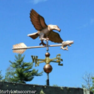 Large Copper Eagle W Fish Weathervane W Brass Directional Made In Usa 325