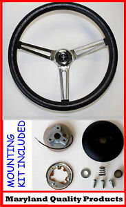 1965 1969 Mustang Grant Steering Wheel Black 15 Slotted Stainless Spokes